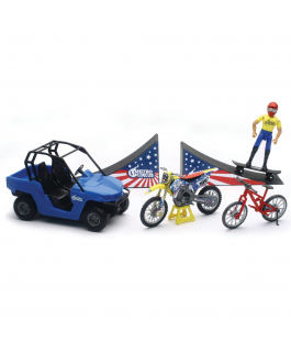 2018 Nitro Circus playset 1:18 Includes ATV, dirt bike, bicycle, ramps, skateboard and figurine