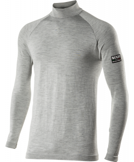 TS3 Long sleeve mock turtleneck jersey Carbon Merinos Wool®
