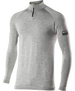 TS13 Long sleeve mock turtleneck jersey with zipper Carbon Merinos Wool®