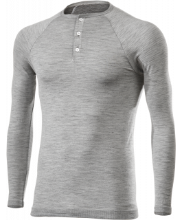 SERAFINO Long sleeve crew-neck jersey with button in Carbon Merinos Wool®