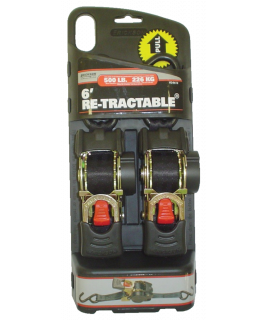 "Re-tractable® ratchet straps 1"" x 6ft long"